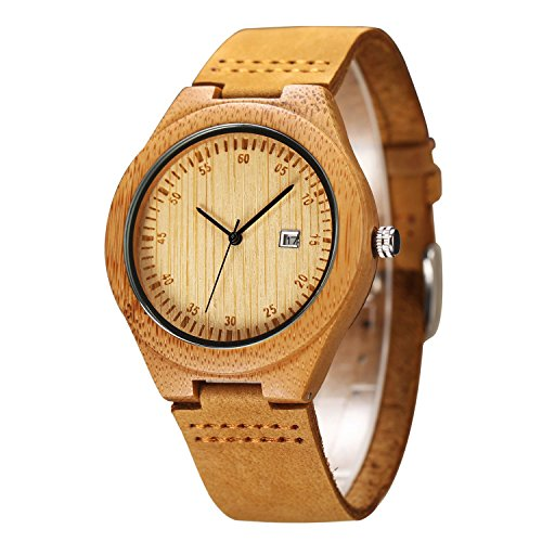 CUCOL Wooden Watch For Men Fashion Casual Watch Brown Cowhide Leather Strap Wood Watch With Box (date)