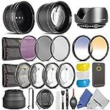 52MM Essential Accessory Kit for NIKON DSLR (D3300 D3200 D5300 D5200 D5100 D5000 D3000 D90 D80) - Includes: 0.43x Wide Angle & 2.2x Telephoto High Definition Lenses + Remote Control + Vivitar Filter Kit (UV, CPL, FLD) + Vivitar Macro Close-Up Set + Collapsible Lens Hood + Tulip Lens Hood + Center Pinch Lens Cap + 2 Color Filters + Flash Diffuser Set + Deluxe Cleaning Kit with MagicFiber Microfibers
