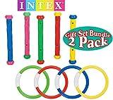 Intex Underwater Swimming/Diving Pool Toy Rings (4 Rings) & Diving Sticks (5 Sticks) Gift Set Bundle - 2 Pack
