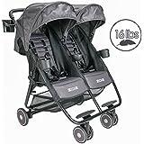ZOE XL2 BEST Xtra Lightweight Double Stroller (Grey Wheels, Noah Grey)