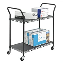 Safco Products Wire Utility Cart, 2 Shelves, Black, 5337BL