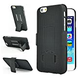 Encased® Apple iPhone 6 (4.7inch) Shell Holster Combo Case with Kickstand & Belt Clip {Lifetime Warranty} (Black)