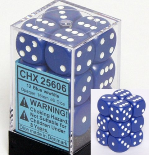 Chessex Dice d6 Sets: Opaque Blue with White - 16mm Six Sided Die (12) Block of Dice
