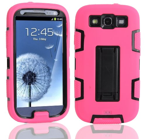 Magicsky Robot Series Hybrid Armored Case With Kickstand For Samsung Galaxy Iii S3 I9300 - 1 Pack - Retail Packaging - Black/Hot Pink