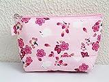 和小物 和柄ファスナーポーチ(お化粧・コスメ)桜楓うさぎ薄ピンク