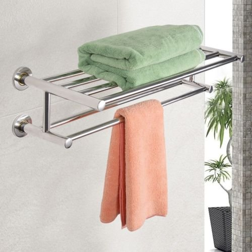 Wall Mounted Towel Rack Bathroom Hotel Rail Holder Storage Shelf Stainless Steel (6 Inch Stainless Steel Shelf compare prices)