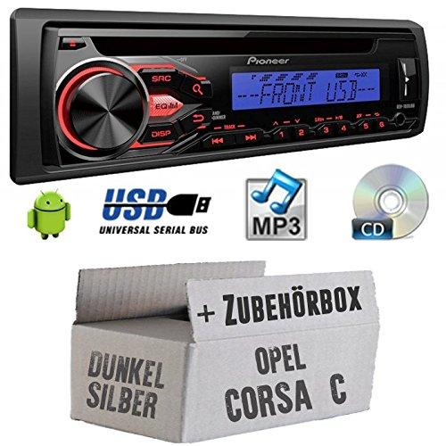 OPEL CORSA C Gris-Pioneer deh1800ubb-Kit de montage autoradio CD/MP3/USB -
