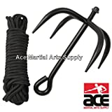 Fury Martial Arts Folding Grappling Hook with Black Cord, Midnight Black