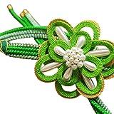 [京都きもの町] 振袖用 正絹 帯締め 濃い黄緑×ラメグリーン 組紐の花と苧環飾り付き