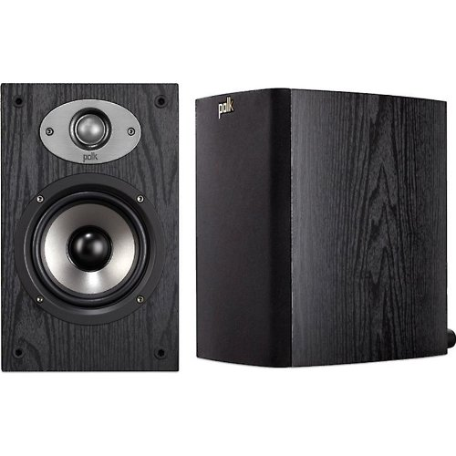 "Polk Bookshelf Speakers (Pair) With 1"" Silk/Polymer Dynamic Balance Dome Tweeter, And 5-1/4"" Bi-Laminate Composite Woofer With Butyl Rubber Surround, Features Mylar Bypass Capacitors With Gold-Plated 5-Way Binding Post Terminals, Black Woodgrain Vinyl Fin"