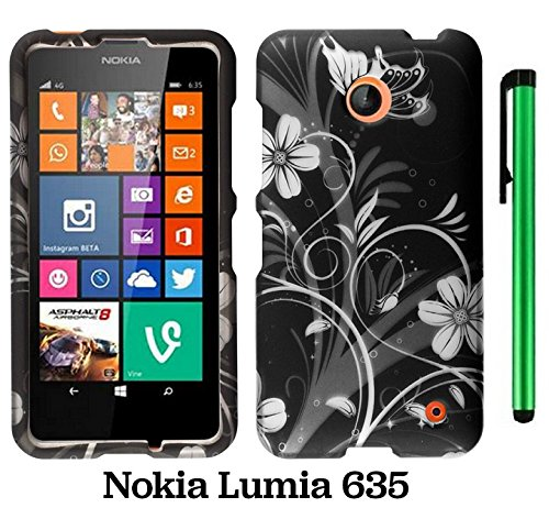 Nokia Lumia 635 (Us Carrier: T-Mobile, Metropcs, And At&T) Premium Pretty Design Protector Cover Case + 1 Of New Assorted Color Metal Stylus Touch Screen Pen (Black Silver Butterfly Flower)