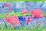 Tropical Pink Flamingo Mingo Flock Floor Mat Rug