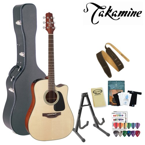 Takamine P2Dc Pro Series Acoustic-Electric Guitar With Stand, Humidifier Pack, Suede Strap, Hard Case And Pick Sampler