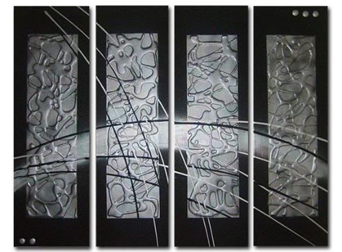 Sangu Wood Framed Black On Silver Abstract Home Decoration Modern Oil Painting Gift On Canvas 4-Piece Art Wall Decor