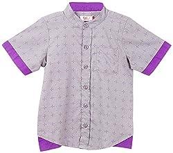 Oye Boys Half Sleeve Shirt With Invert Flap - Grey (2-3Y)