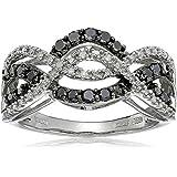 10k White Gold Black and White Diamond Waves Ring (1/2 cttw, I-J Color, I2-I3 Clarity)