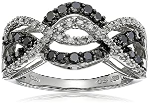 10k White Gold Black and White Diamond Waves Ring (1/2 cttw), Size 8