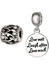 CHARMED BEADS Sterling Silver Live Laugh Love Bead Charm Set