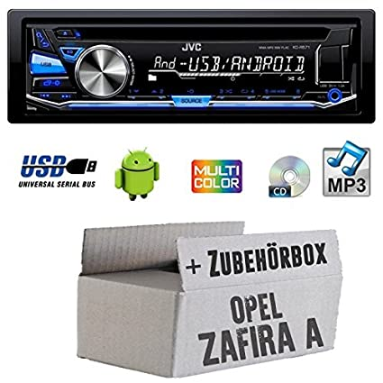 Opel Zafira A - JVC KD-R571E - CD/MP3/USB MultiColor Autoradio - Einbauset