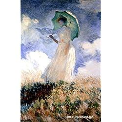 《世界の名画》高級額付・複製画「プリハード・デジタグラフ」モネ 「パラソルをさす女」