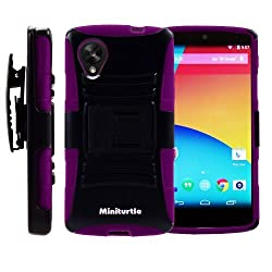 MINITURTLE Rugged Hybrid Dual Layer Armor Phone Case Cover with Built in Kickstand Holster Belt Clip and Screen Protector for Android Smartphone LG Google Nexus 5 (Black / Purple)