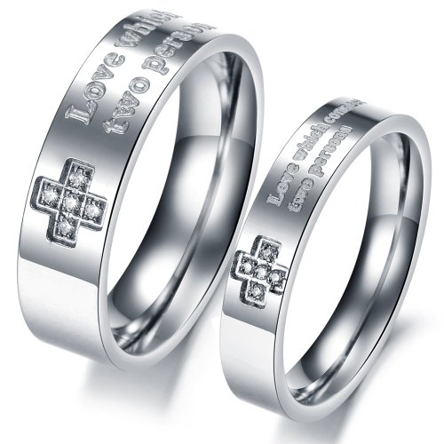 "3Aries Stainless Steel ""Love Which Connect Two Persons"" Clean Cross Crystal Men Wedding Couple Ring Size 10"