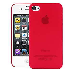 iPhone 4S Case, Frosted Series Case CHEETAH Case Back Cover for Apple iPhone 4S (Red)