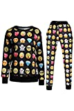 Pink Queen® Unisex 3D Emoji Print Sweatshirts Sweatpant Joggers Pants