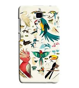 Blue Throat Bird Chirping Pattern Printed Designer Back Cover For Xiaomi Mi4