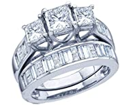 2 cttw 14k White Gold Diamond Three Stone Bridal Set Baguette and Princess Cut Engagement Ring…