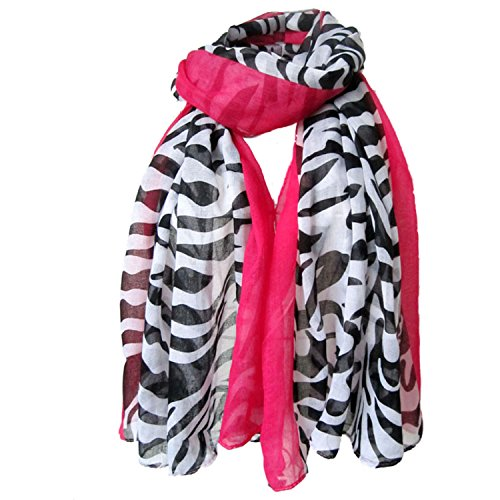 Sexyinlife Black White Zebra Print Animal Edged Fashion Scarf Shawl