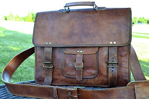 Click to open expanded view PL 16 Inch Vintage Leather Messenger Bag Briefcase / Fits upto 15.6 Inch Laptop