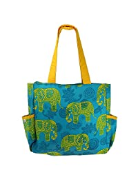Printed Shopping Bag, 3 Pockets, Satin Lining, Zipper Closing - B015GWR1A8