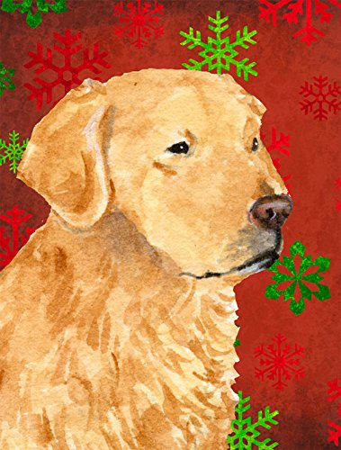 Golden Retriever Red Green Snowflake Holiday Christmas Flag, Small, Multicolor