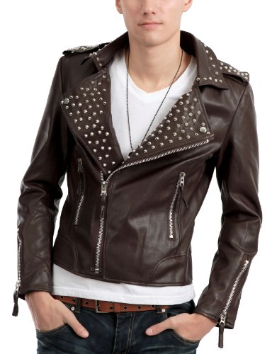 9XIS Mens Casual Studded Bomber Jacket BROWN XL (9MO013)