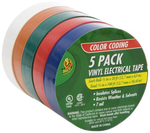 Duck Brand 299020 1/2-Inch by 20 Feet Colored Electrical Tape with 5-Pack of Rolls, Multi-Color