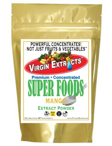 Virgin Extracts (Tm) Pure Premium Freeze Dried Organic Mango Powder Extract Concentrate (5 X Stronger) 16Oz Pouch Raw Mango Powder Mangoes Superfood