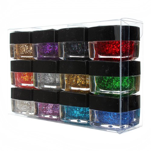 12 Colors Glitter Acrylic Nail Art UV Gel Builder