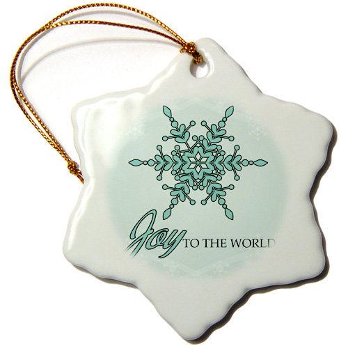 Doreen Erhardt Christmas – Contemporary mint greens and white Joy to the World with a snowflake ornament. – Ornaments – 3 inch Snowflake Porcelain Ornament (orn_150202_1)