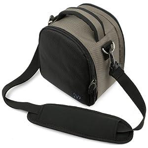 SumacLife Laurel Edition Compact Nylon Steel Grey Camera Carrying Bag for Canon Camera with Adjustable Shoulder Strap for Canon EOS 35mm SLR Cameras ELAN 7/7E (ELAN 7N/7NE /EOS Rebel 2000 /EOS Rebel GII /EOS Rebel K2 /EOS Rebel T2 /EOS Rebel Ti /EOS-1v /EOS-3)