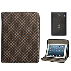 DMG Premium Stitched Durable Portfolio Bag with Accessory Pockets for Digiflip Pro Xt 712 Tablet (Textured Brown) + 6600 mAh Power Bank