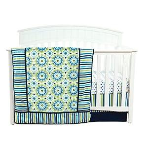 Trend Lab Waverly Solar Flair Crib Bedding Set, Blue/Green, 3 Count