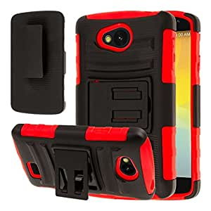 LG Transpyre / Tribute Belt Clip Case, MPERO IMPACT XT Series Dual Layered Tough Durable Shock Absorbing Silicone Textured Reinforced Rubberized Polycarbonate Hybrid Belt Clip Kickstand Case [Perfect Fit & Precise Port Cut Outs] - Red