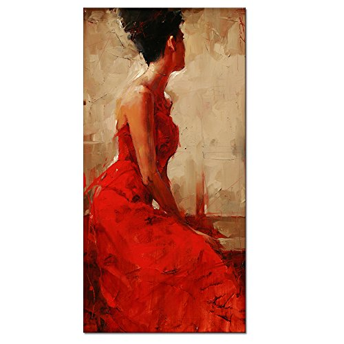 Large Size Canvas Wall Art Prints,large Size Red Dress Sexy Lady Oil Painting Feeling Picture Canvas Home Wall Decal With Frame Ready Hanging On