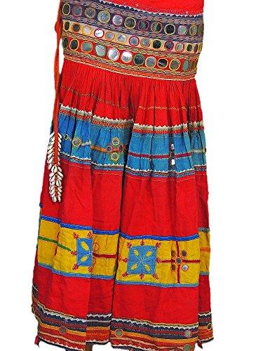 Multicolor Belly Dance Costume Handmade Ethnic Gypsy Mirror Work Belt Skirt S