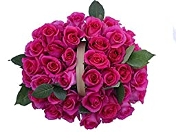 50 Mother\'s Day Farm Fresh Hot Pink Roses Bouquet By JustFreshRoses | Long Stem Fresh Hot Pink Rose Delivery | Farm Fresh Flowers