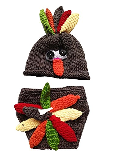 Handmade Newborn Baby Photo Photography Props Crochet Crochet Knitted Prop Girl Boy Turkey Diaper Hat Cap Set Clothes Outfits 0-12 Months