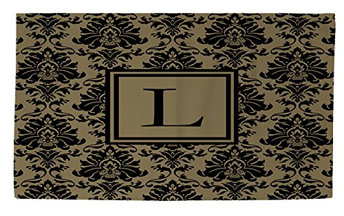 bath rug 2 by 3 feet monogrammed letter l black and gold damask