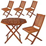 ガーデン ファニチャー テーブル1脚・チェア4脚 5点 セット ウッド デッキ バルコニー 木製
