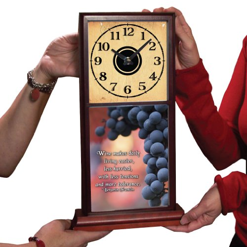 Mahogany Mantle Clock - Grapes w/Ben Franklin Wine Quote - Beautifully done in full color